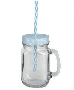 boccali grandi in vetro con manico e cannuccia azzurri