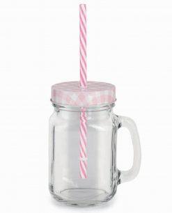 boccali grandi in vetro con manico e cannuccia rosa
