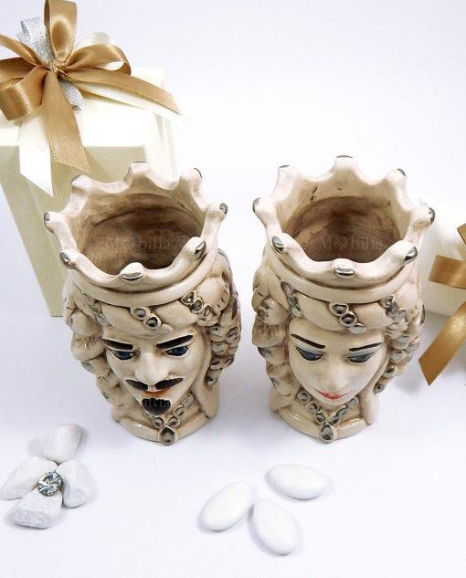 bomboniera artigianale teste di moro in ceramica di caltagirone antichizzata