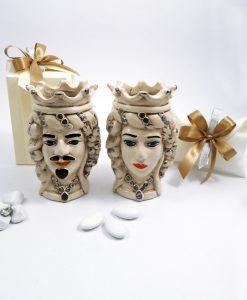 bomboniera ceramica di caltagirone teste di moro con corona