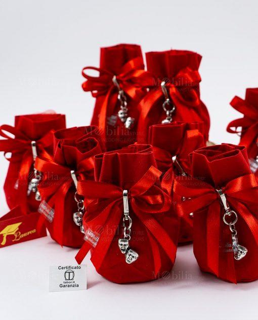bomboniera ciondolo maschere microfusione tabor su sacchettino rosso