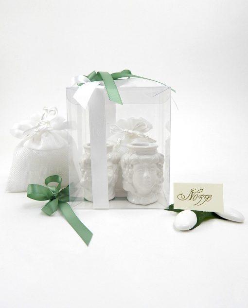 bomboniera coppia di teste di moro piccole in ceramica bianca di caltagirone