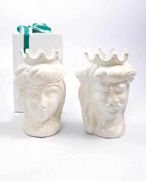 bomboniera coppia teste di moro in ceramica bianca di caltagirone