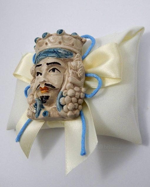 bomboniera magnete testa di moro re su sacchettino