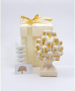 bomboniera pigna ceramica di caltagirone con pennellate gialle