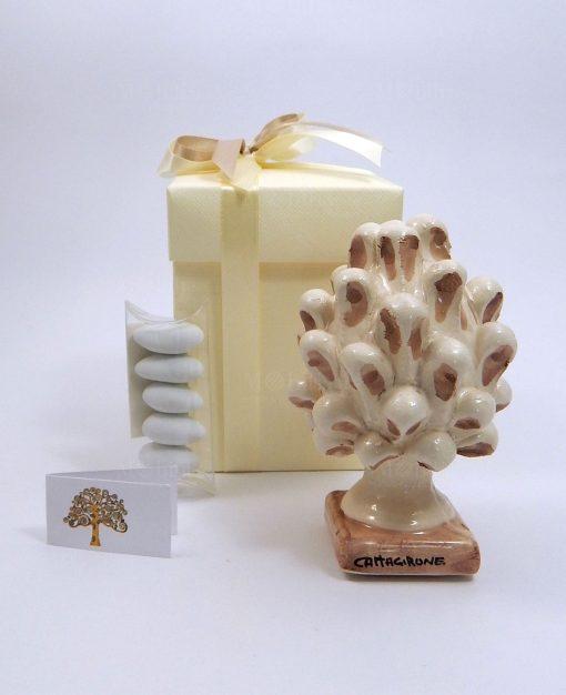 bomboniera pigna ceramica di caltagirone con pennellate tortora