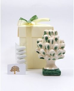 bomboniera pigna ceramica di caltagirone con pennellate verdi