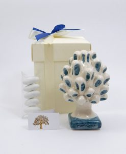 bomboniera pigna in ceramica blu di caltagirone piccola 1