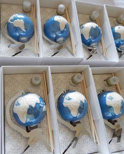 bomboniera porcellana blu mappamondo