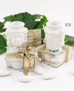 bomboniera portapiante ceramica testa di moro su scatolina trasparente portaconfetti con fiocco e cordoncino
