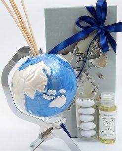 bomboniera profumatore globo blu porcellana