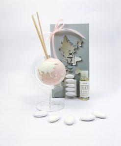 bomboniera profumatore globo mini rosa cipria