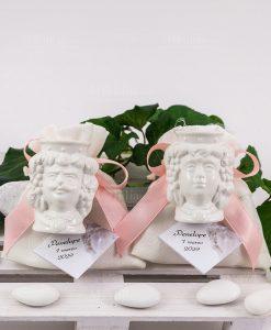 bomboniera testa di moro bianca ceramica caltagirone portapiante su sacchetto bianco con fiocco rosa