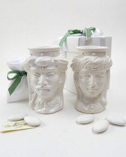 bomboniera testa di moro caltagirone in ceramica bianca