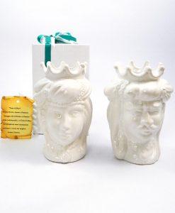 bomboniera teste di moro re e regina in ceramica di caltagirone