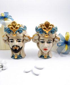 bomboniere artigianali teste di moro re e regina dipinte a mano blu e oro