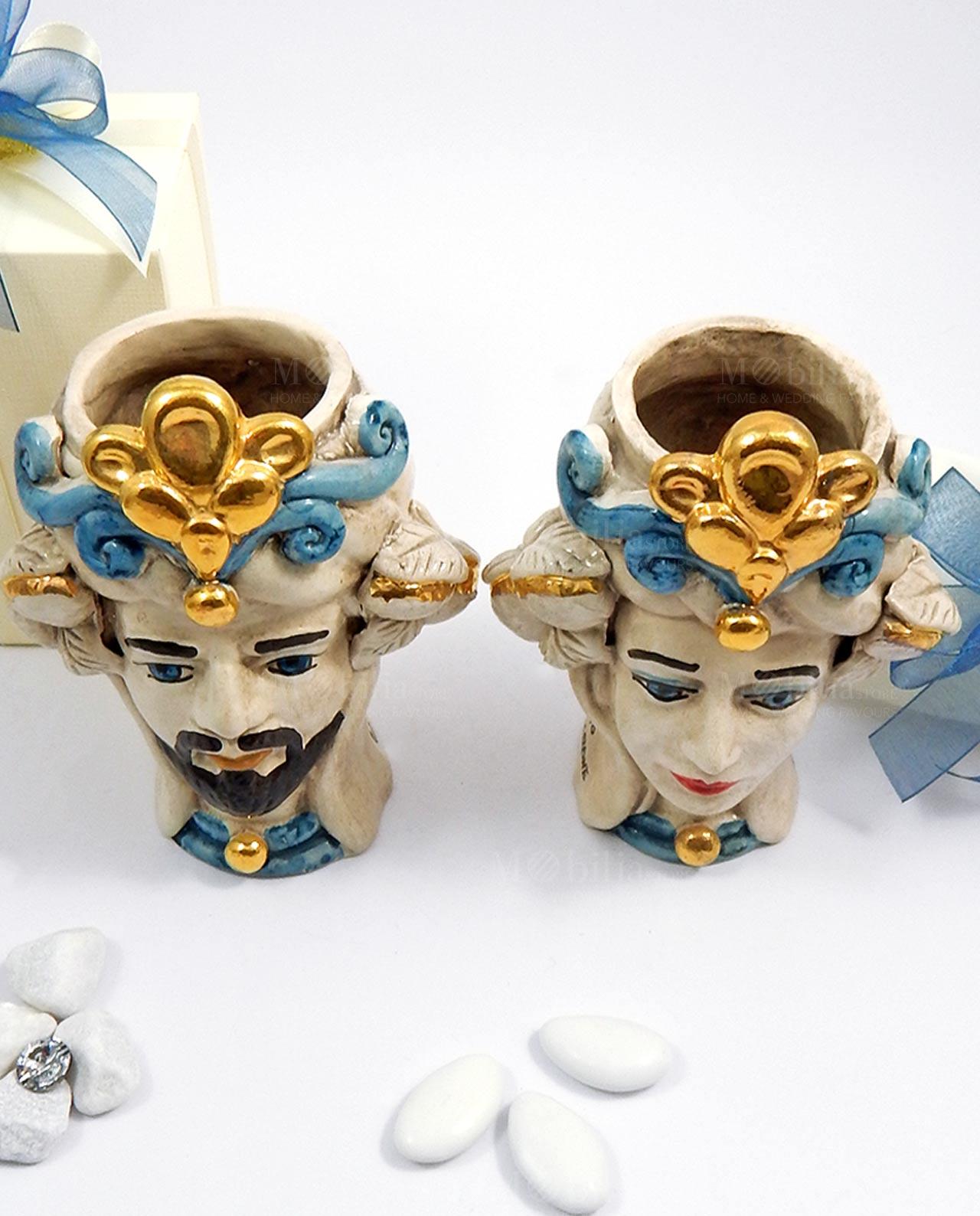 Bomboniera ceramica di Caltagirone teste di moro con limoni oro ...