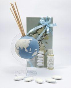 bomboniere diffusori mappamondo porcellana blu emò