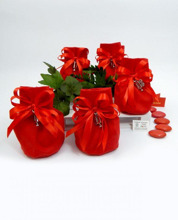 bomboniera ciondolo cinepresa argento tabor su sacchetto rosso