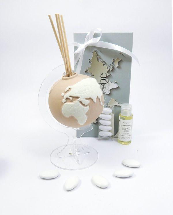 bomboniera profumatore globo avana medio emò con scatola e nastro bianco