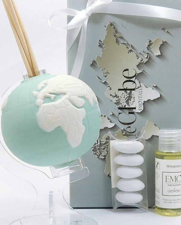 ptofumatore globo porcellana tiffany con essenza e scatola confezionata con nastro bianco