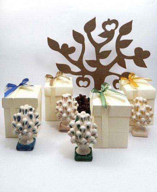 bomboniere pigne ceramica di Caltagirone vari colori