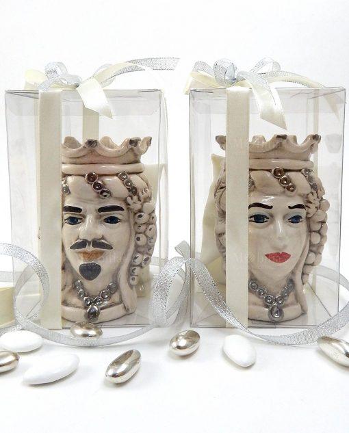 bomboniere teste di moro in ceramica di caltagirone oro platino