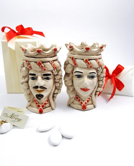 bomboniere teste di moro rosse in ceramica artistica di caltagirone