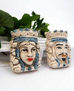 calamite in ceramica di caltagirone teste di moro con dettagli blu