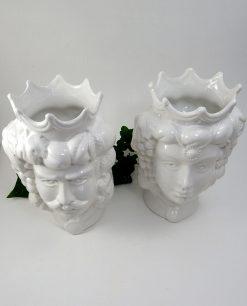 ceramica di caltagirone teste di moro bianche
