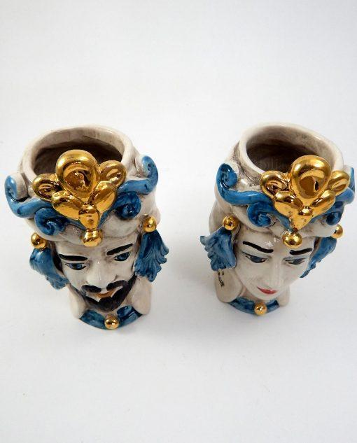 ceramiche di caltagirone teste di moro decorate oro e blu