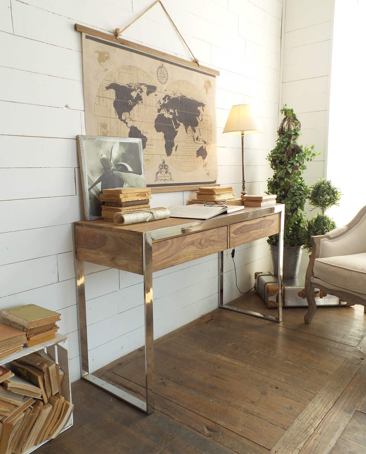 Consolle in legno di palissandro e acciaio stile for Consolle legno