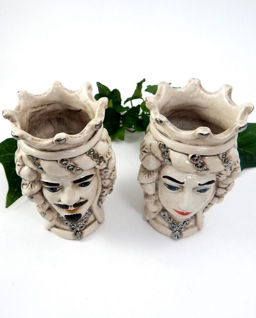 coppia teste di moro ceramica di caltagirone decorata argento