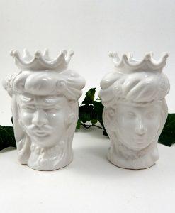 coppia teste di moro con corona in ceramica bianca di caltagirone