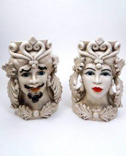 coppia teste di moro grandi in ceramica di caltagirone antichizzata