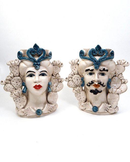coppia teste di moro in ceramica artigianale di caltagirone con dettagli blu