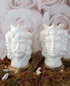 coppia teste di moro in ceramica bianca di caltagirone con frutta