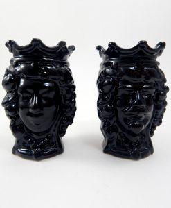 coppia teste di moro siciliane in ceramica nera