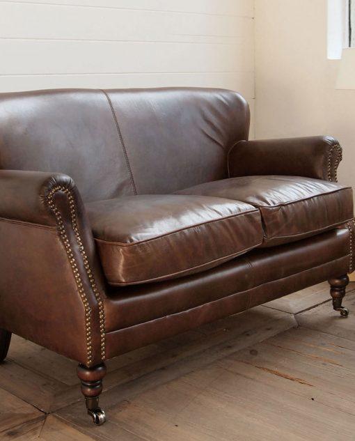 divano 2 posti in pelle vintage