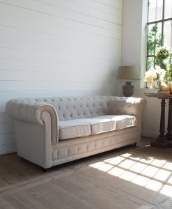 divano 3 posti in tessuto bianco