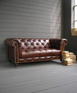 divano imbottito chester in pelle 3 posti vintage