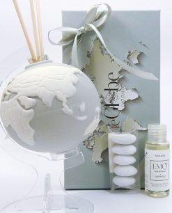 mappamondo diffusore porcellana grigio tema viaggio