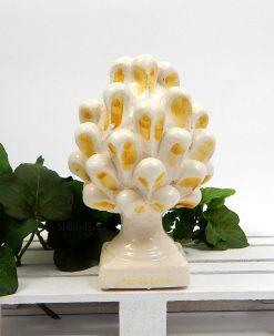 pigna piccola con pennellate gialle ceramica di caltagirone