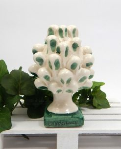 pigna piccola con pennellate verdi ceramica di caltagirone
