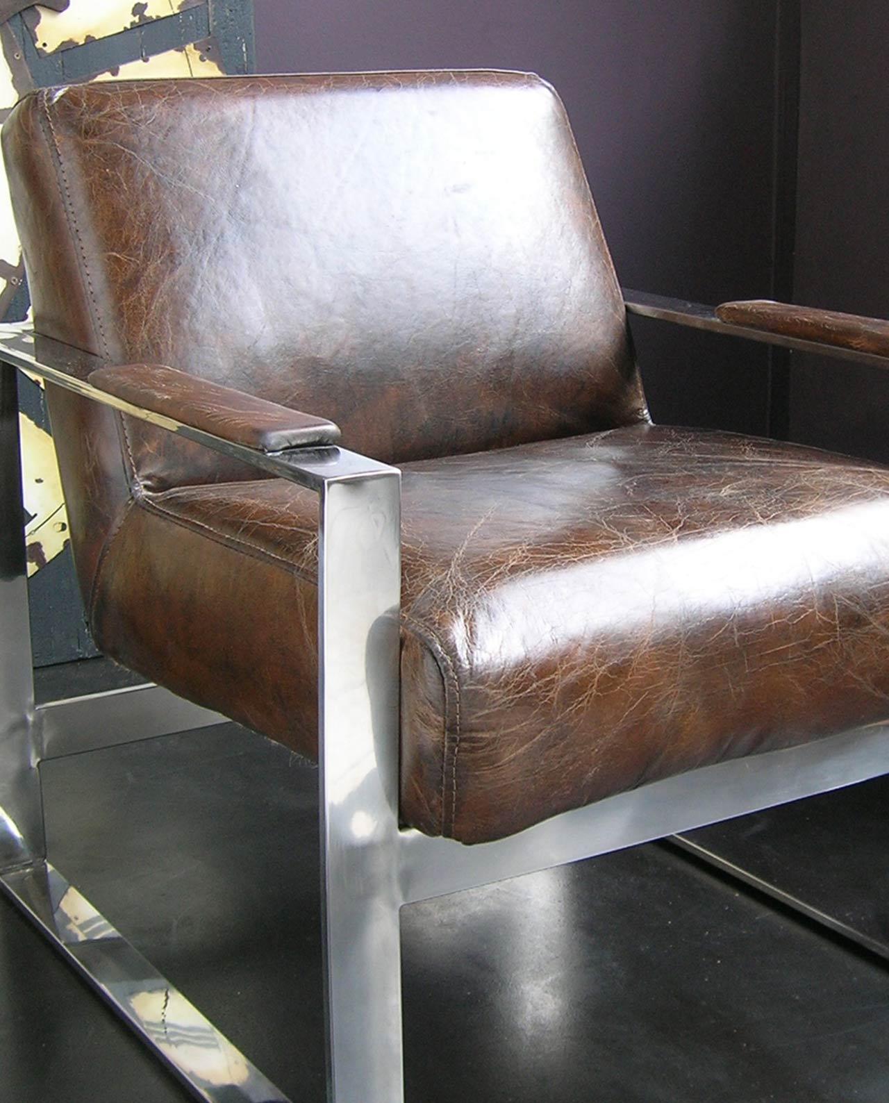 Poltrona in pelle vintage e acciaio - Mobilia Store Home & Favours