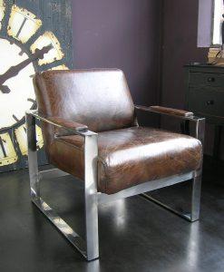 poltrona pelle vintage e acciaio