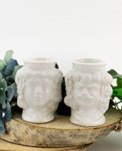 portapiante ceramica di caltagirone testa di moro uomo e donna