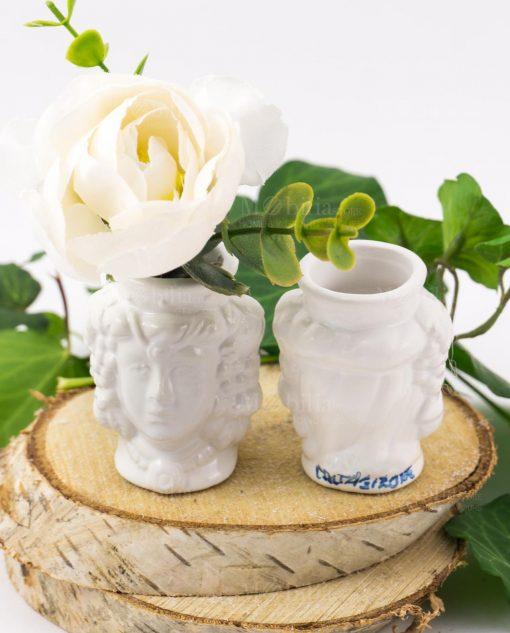 portapiante testa di moro ceramica caltagirone bianca