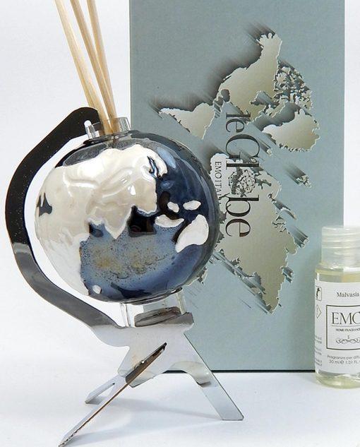 profumatore mappamondo nero porcellana emo
