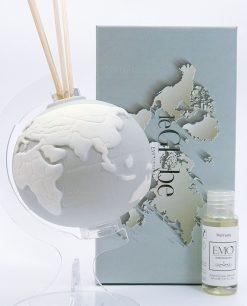 profumatore mappamondo porcellana grigio tema viaggio emò